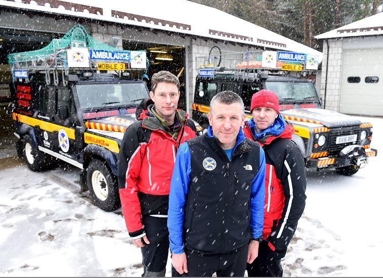 Braemar Mountain Rescue centre with volunteers L-R Julian Fennema, Bill Dalls and Derek Edge.     Picture by Kami Thomson