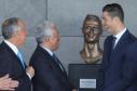 Portuguese president Marcelo Rebelo de Sousa, left, Portuguese Prime Minister Antonio Costa, 2nd left and Real Madrid's Cristiano Ronaldo