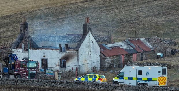 The house at Durness which was gutted by fire.