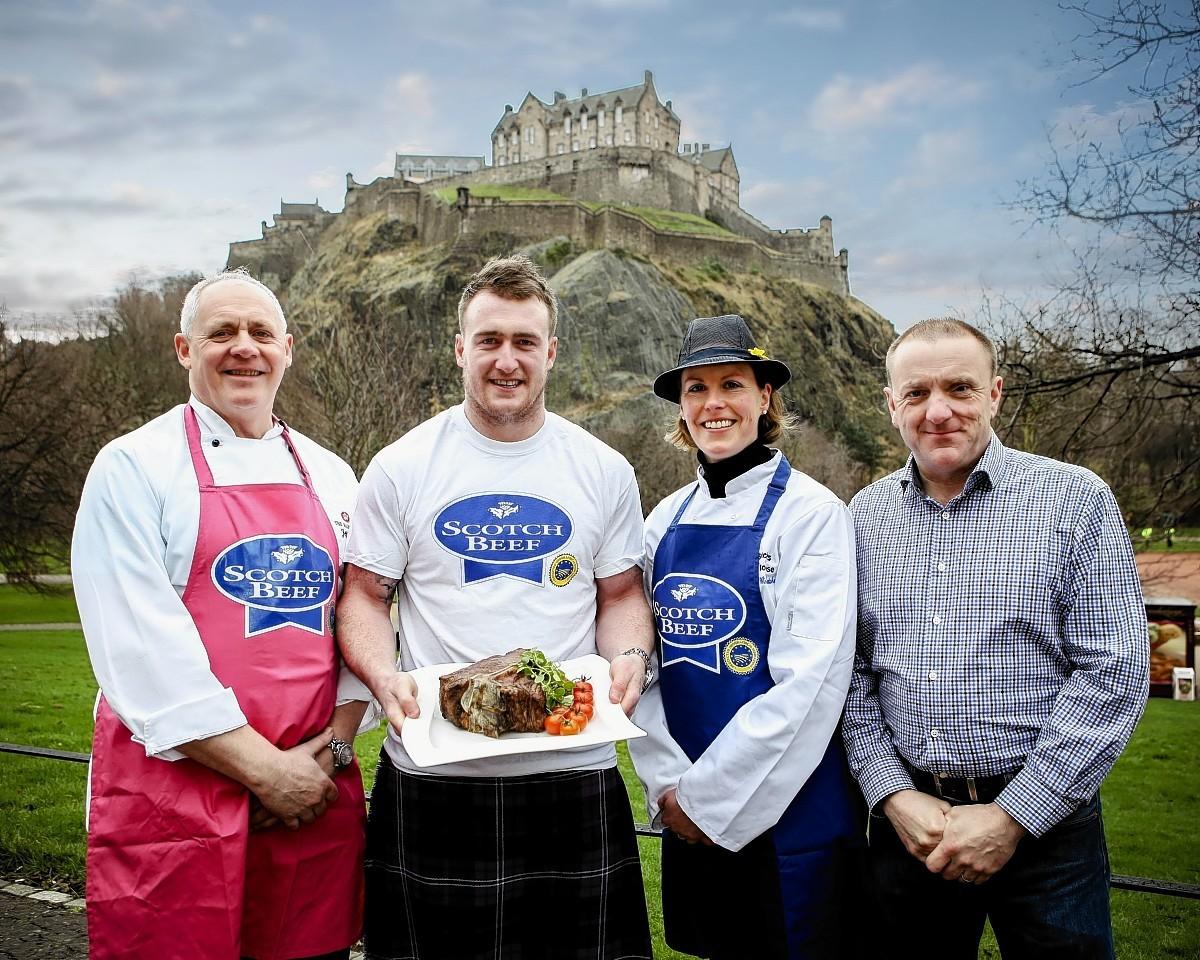 Balmoral Hotel executive chef Jeff Bland, Scotland international rugby player Stuart Hogg, Edzell butcher Bel Forbes and QMS chairman Jim McLaren.