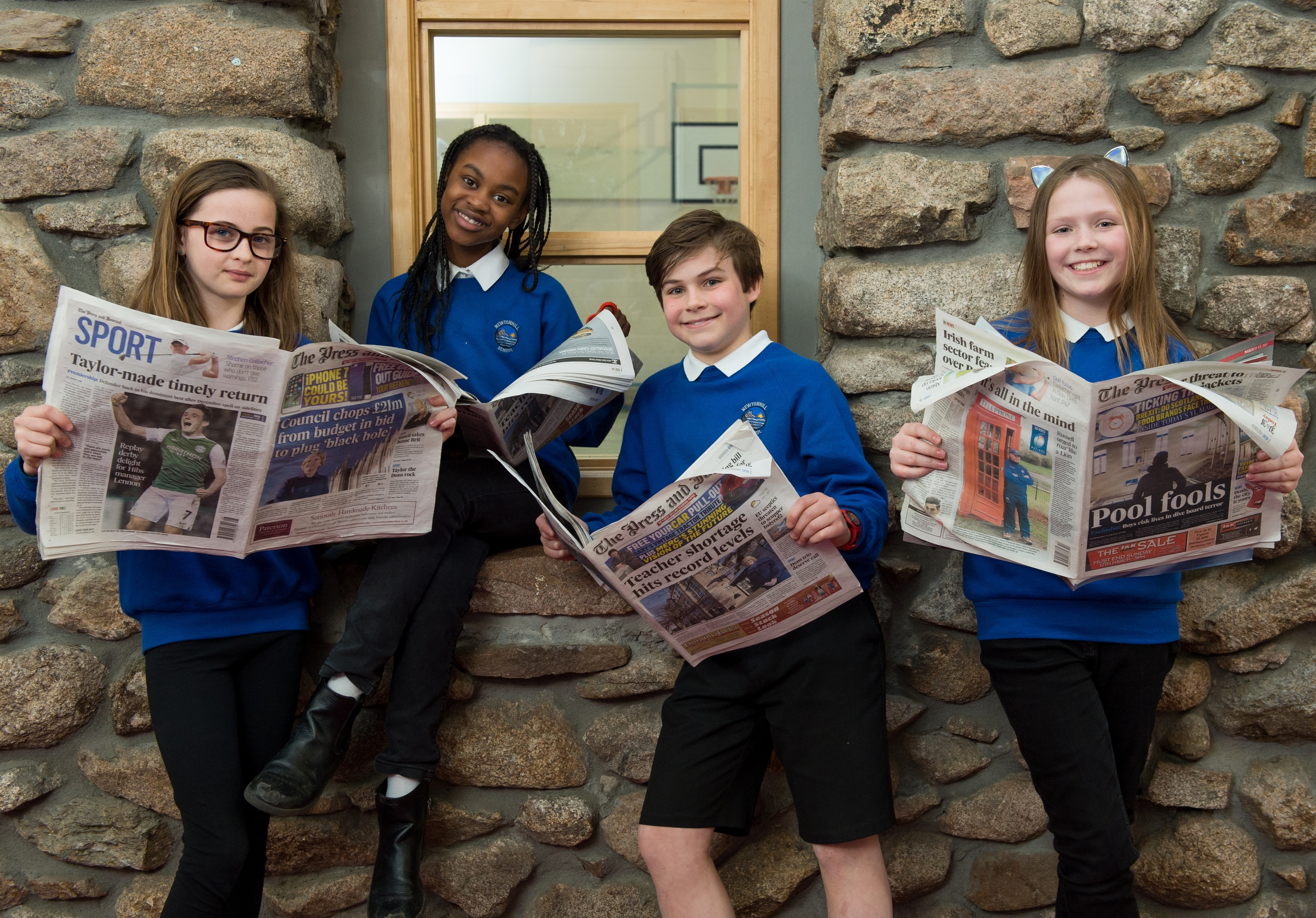 Pictured are the primary 7's from Newtonhill School. from left is Ayo Atti(cor), 11, Erin Pirie, 11, Zanthe Duce, 11 and Joseph Bond, 11.