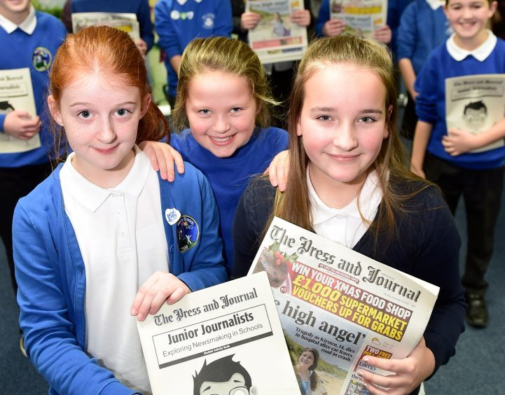 Pupils from Insch Primary School newspaper group visited the Press and Journal offices as part of the junior journalist competition.      Picture by Kami Thomson