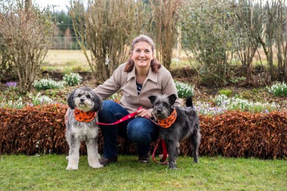 Jacqui Kelly with her dogs Bintang and Sophie at her home near Keith.