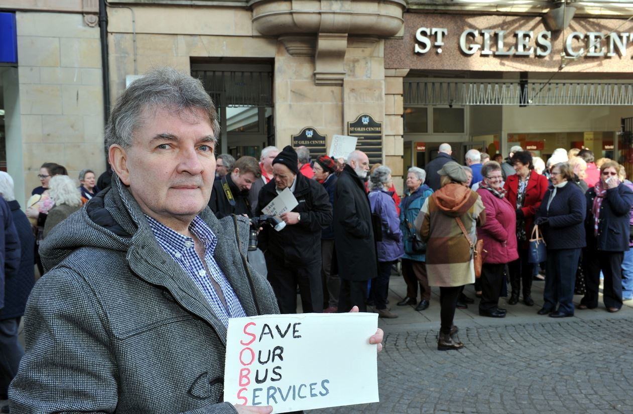 Bishopmill resident Jim Rooney organised a protest at the St Giles Centre about the bus service cuts.