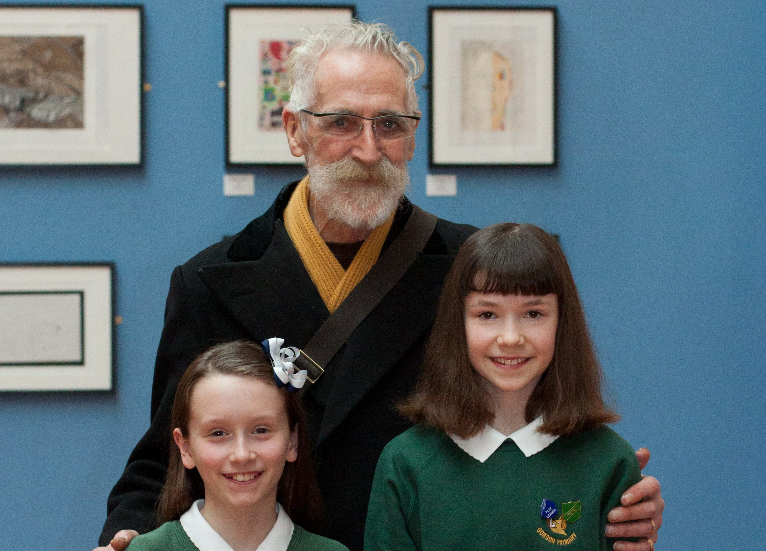 John Byrne pictured with Gordon Schools pupils Charlotte Stewart and Scout Knight.