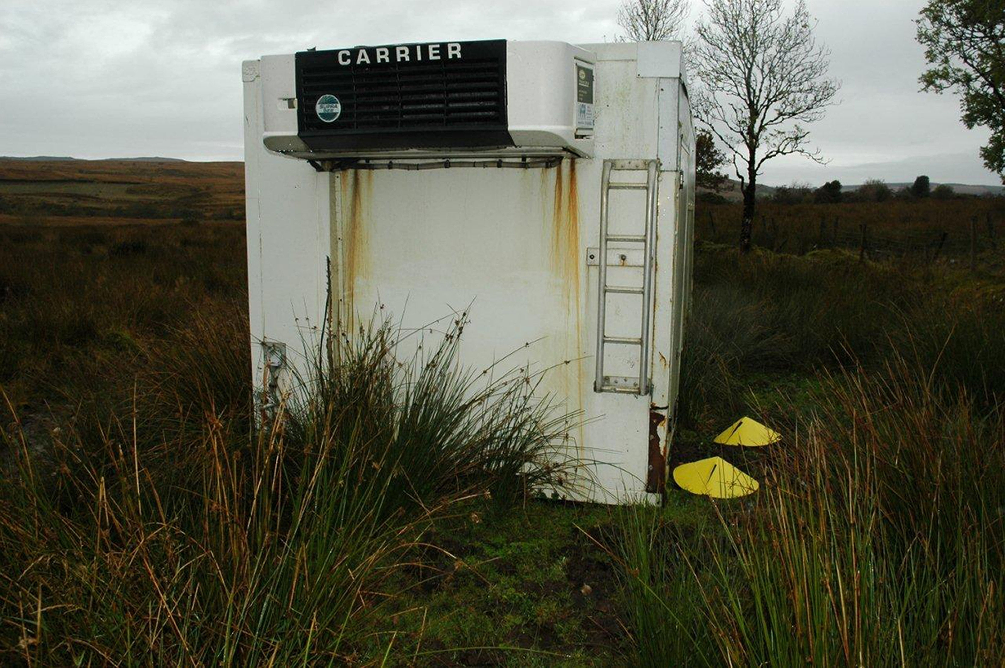 The squalid shipping container where kidnapped cattle dealer Paul Gogan was held hostage