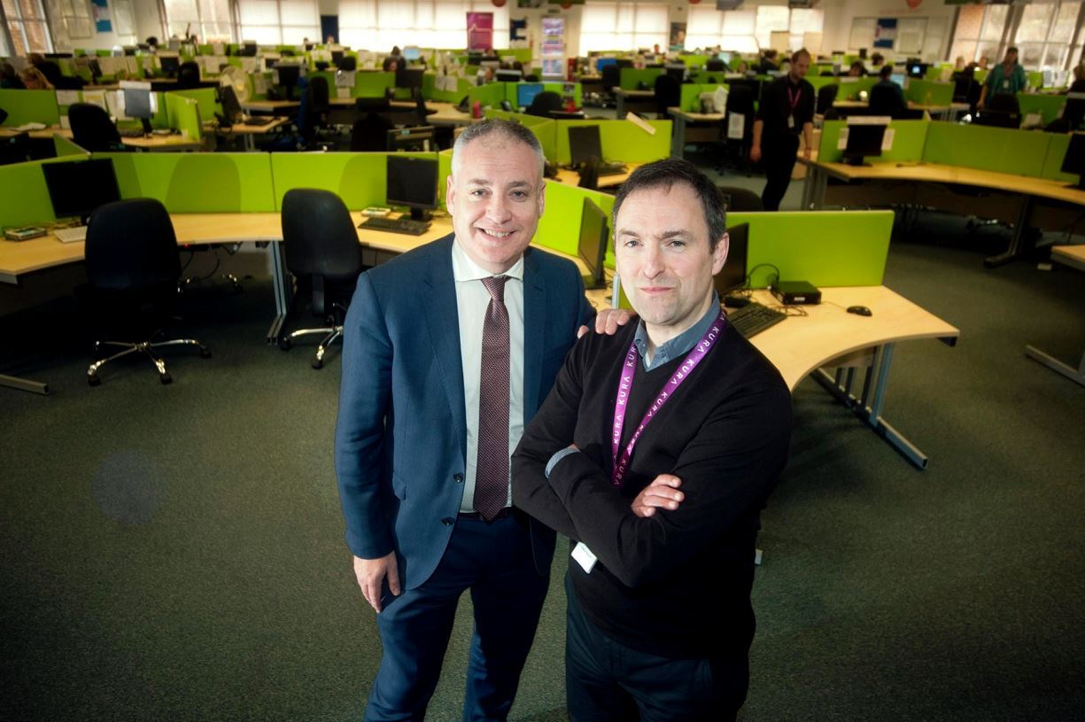 Moray MSP Richard Lochhead meets the chief executive of Kura, Brian Bannatyne, following the takeover of the Capita call centre in Forres.