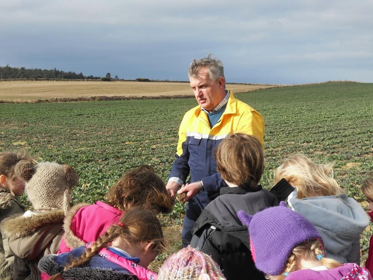 Martin Birse hosting a school visit to Pitgaveny.