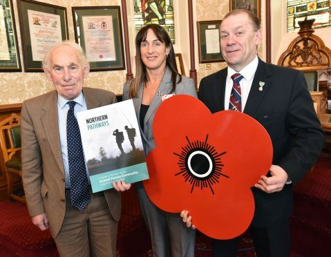 From left: Cllr Roddy Balfour, Poppyscotland Welfare Services Manager Nina Semple, and Cllr Chris Tuke