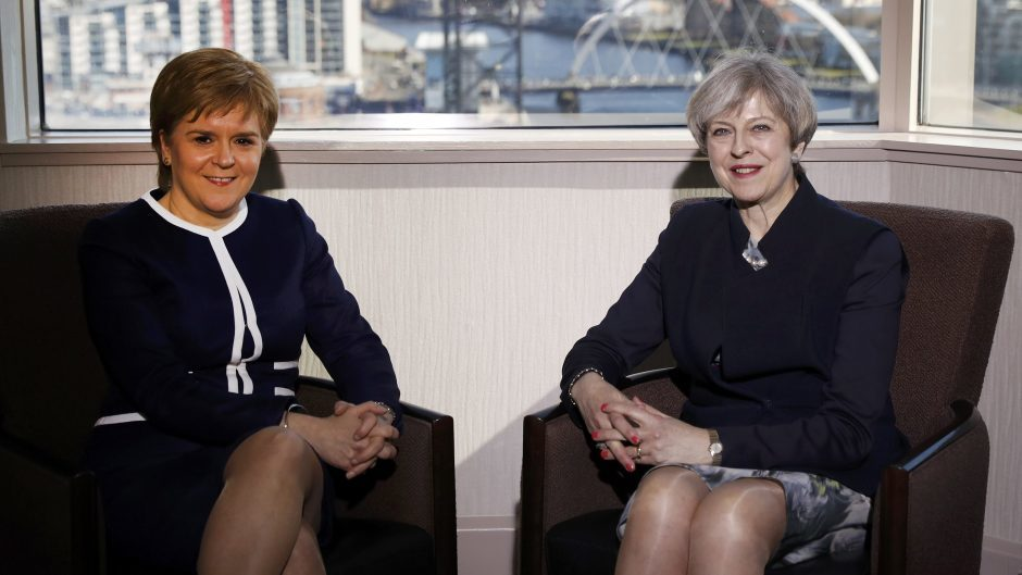 Theresa May and Nicola Sturgeon at a previous meeting.