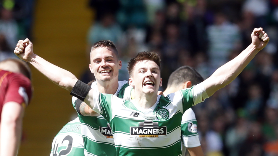 Kieran Tierney netted Celtic's second against the Dons.