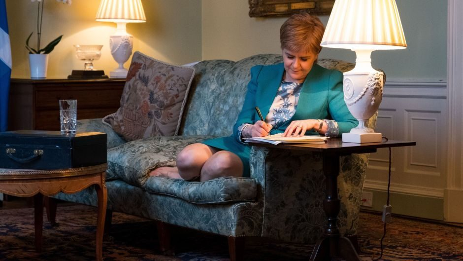 First Minister Nicola Sturgeon in the Drawing Room in Bute House, Edinburgh, working on the final draft of her Section 30 letter (Scottish Government)