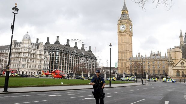 Police outside the Palace of Westminster, London