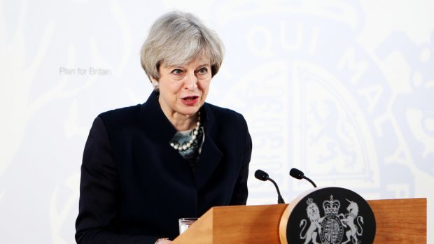 Prime Minister Theresa May gives a speech.