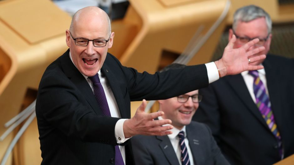 John Swinney stands in for Nicola Sturgeon during First Minister's Questions at the Scottish Parliament