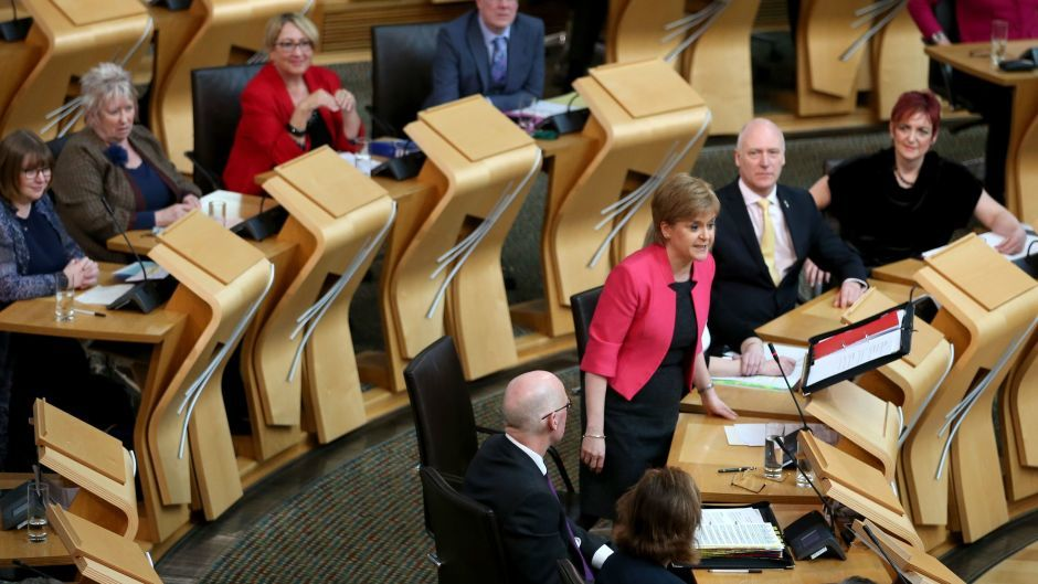 Nicola Sturgeon (centre right) in the main Holyrood chamber