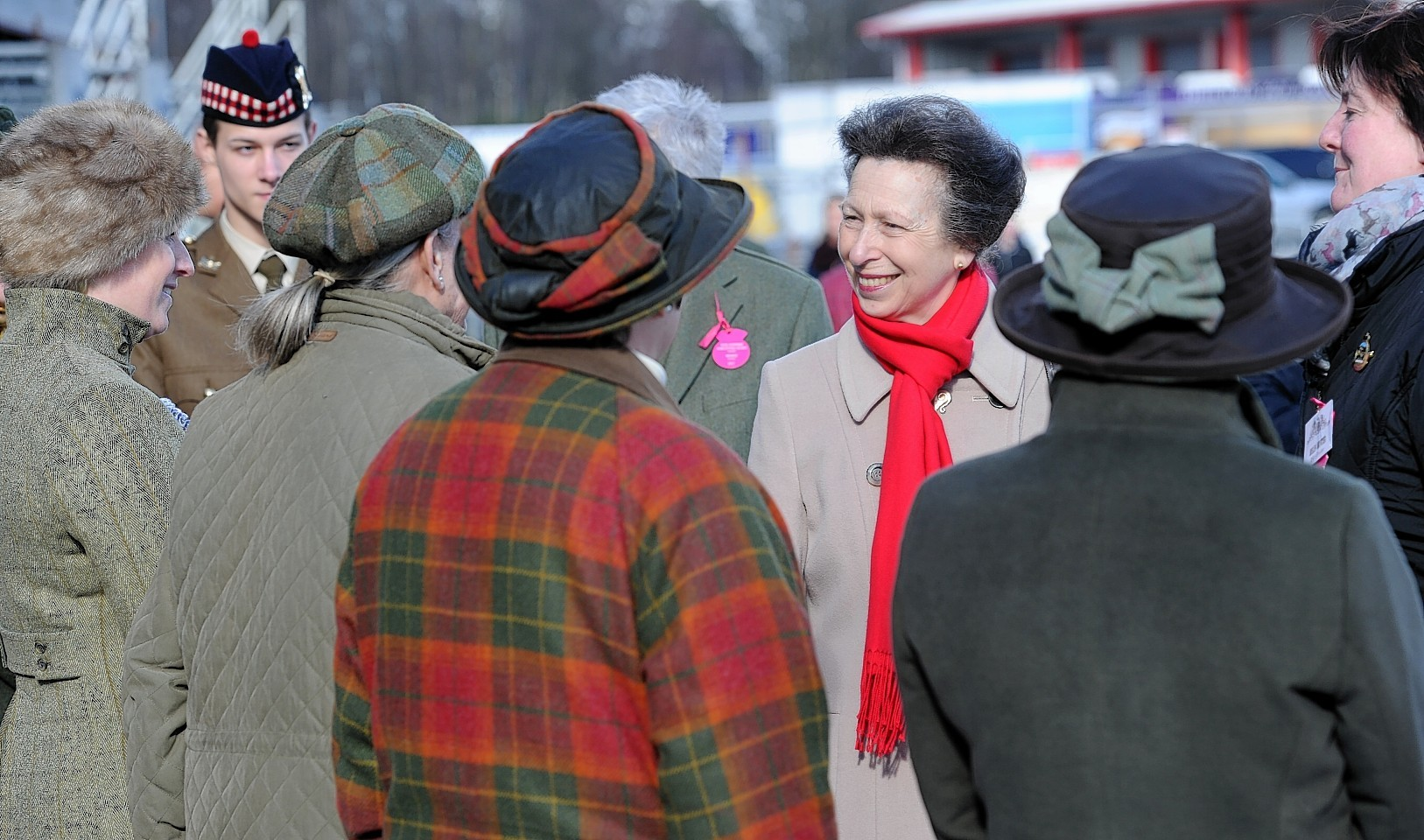 Princess Anne speaks to exhibitors at the show.