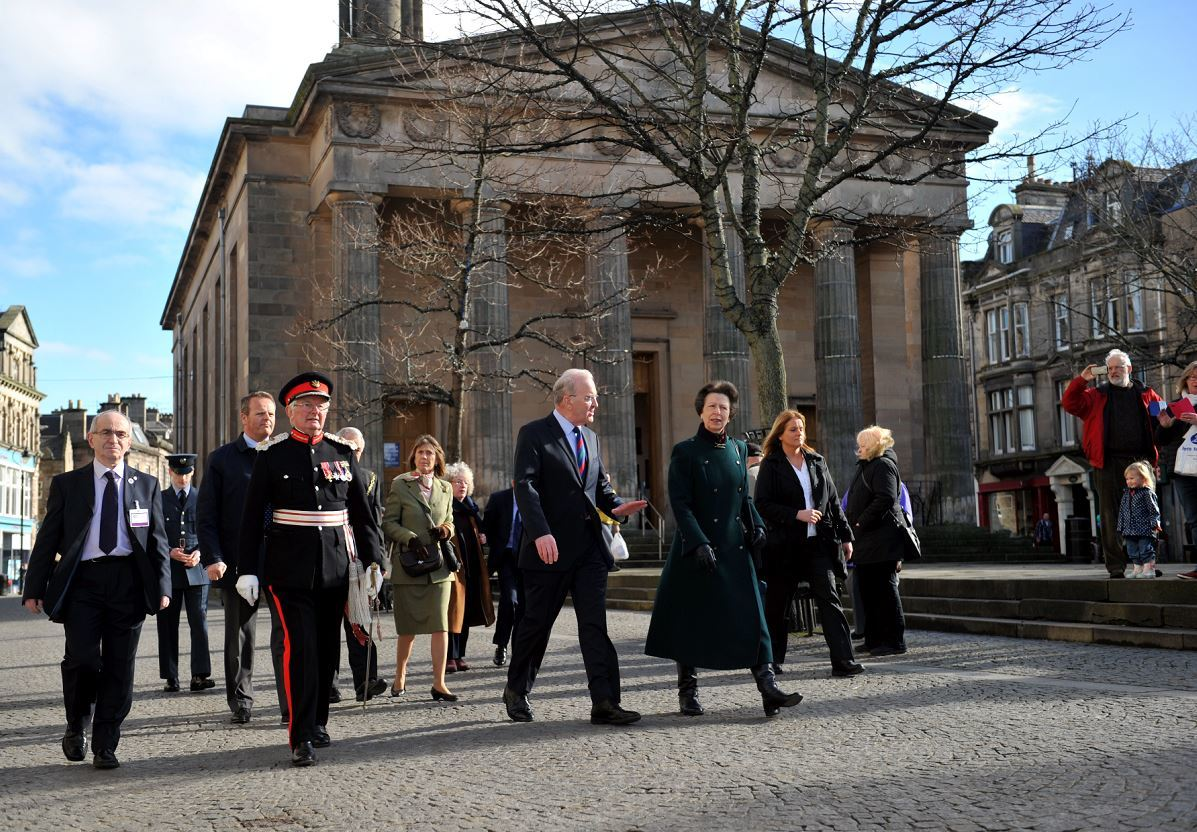 The Princess Royal went on a walkabout around Elgin town centre before opening the Castle to Cathedral to Cashmere project.