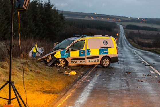 The scene of the serious RTC on the A90 near Longhaven involving a police van