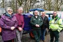 (L TO R) ORGANISERS JANE AND BILL IRONSIDE, JAMES HENDRY, FRASERBURGH AMBULANCE STATION MANAGER, ALAN THAIN AND STEVE MUNRO, AIR AMBULANCE AREA SERVICE MANAGER