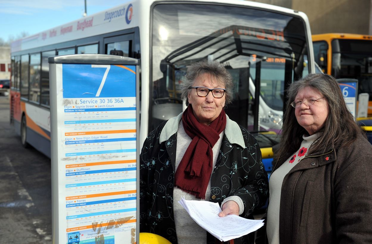 Findhorn community councillor Mo Hyde, pictured right, organised a petition to fight to retain the service with Rosina Buchan, pictured left.