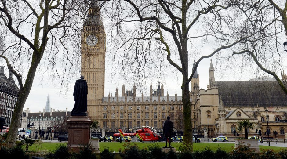 An Air Ambulance outside the Palace of Westminster, London.