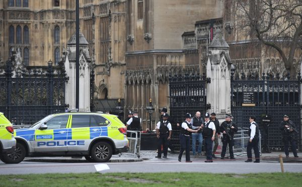 Police on the scene at Westminster