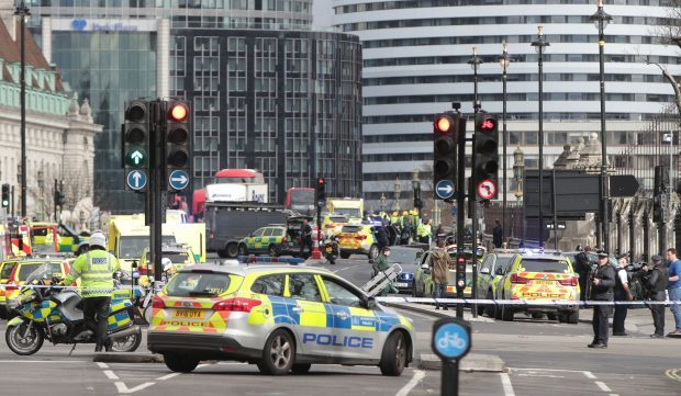 Police close to the Palace of Westminster, London