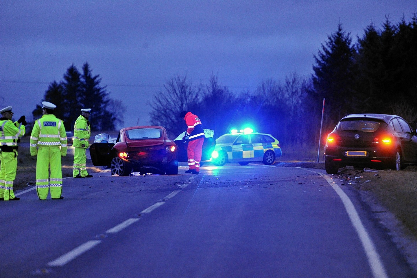 The scene on the A96