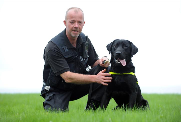 Police dog, Sam the Labrador with Grampian Police dog handler, George Shearer