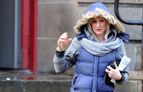 Linda Campbell leaving Elgin Sheriff Court.