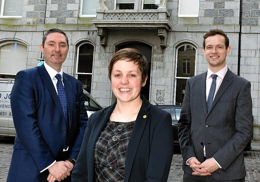 l-r Mark Fahy, head of UK small and mid-cap Companies at the London Stock Exchange and Aberdeen MPs Kirsty Blackman and Callum McCaig