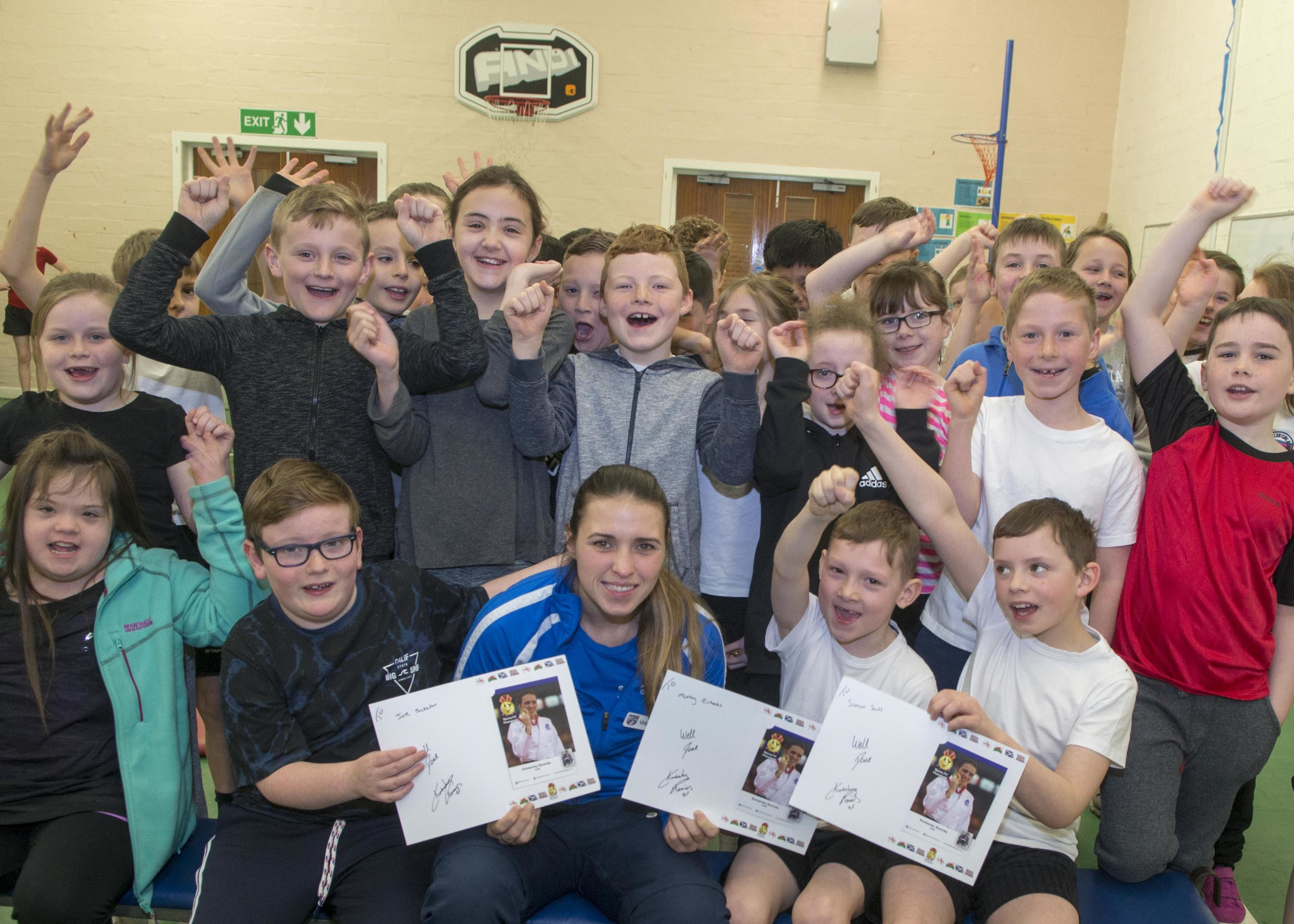 Commonwealth Games judo star Kimberley Renicks with youngsters from Glashieburn Primary School in Bridge of Don.