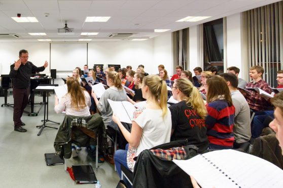 Professor Paul Mealor leads rehearsals for his University of Aberdeen Chamber Choir.
