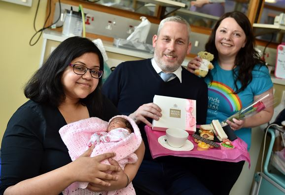 Mum Jinia Mridha with baby Alana, with Graham Wood and Julie Wilson.