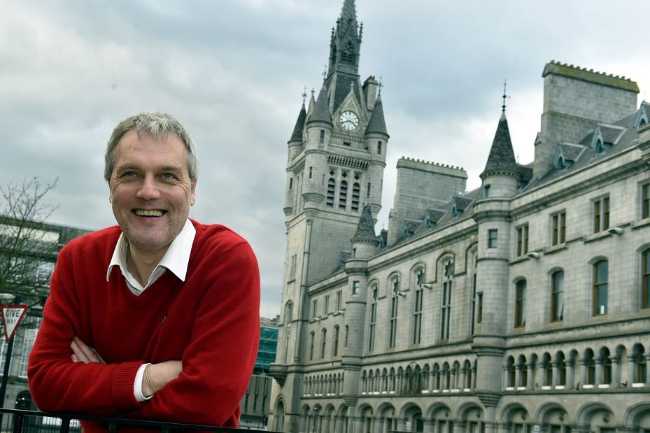 Finance convener Willie Young outside the newly-repaired Town House. (Picture: Colin Rennie)