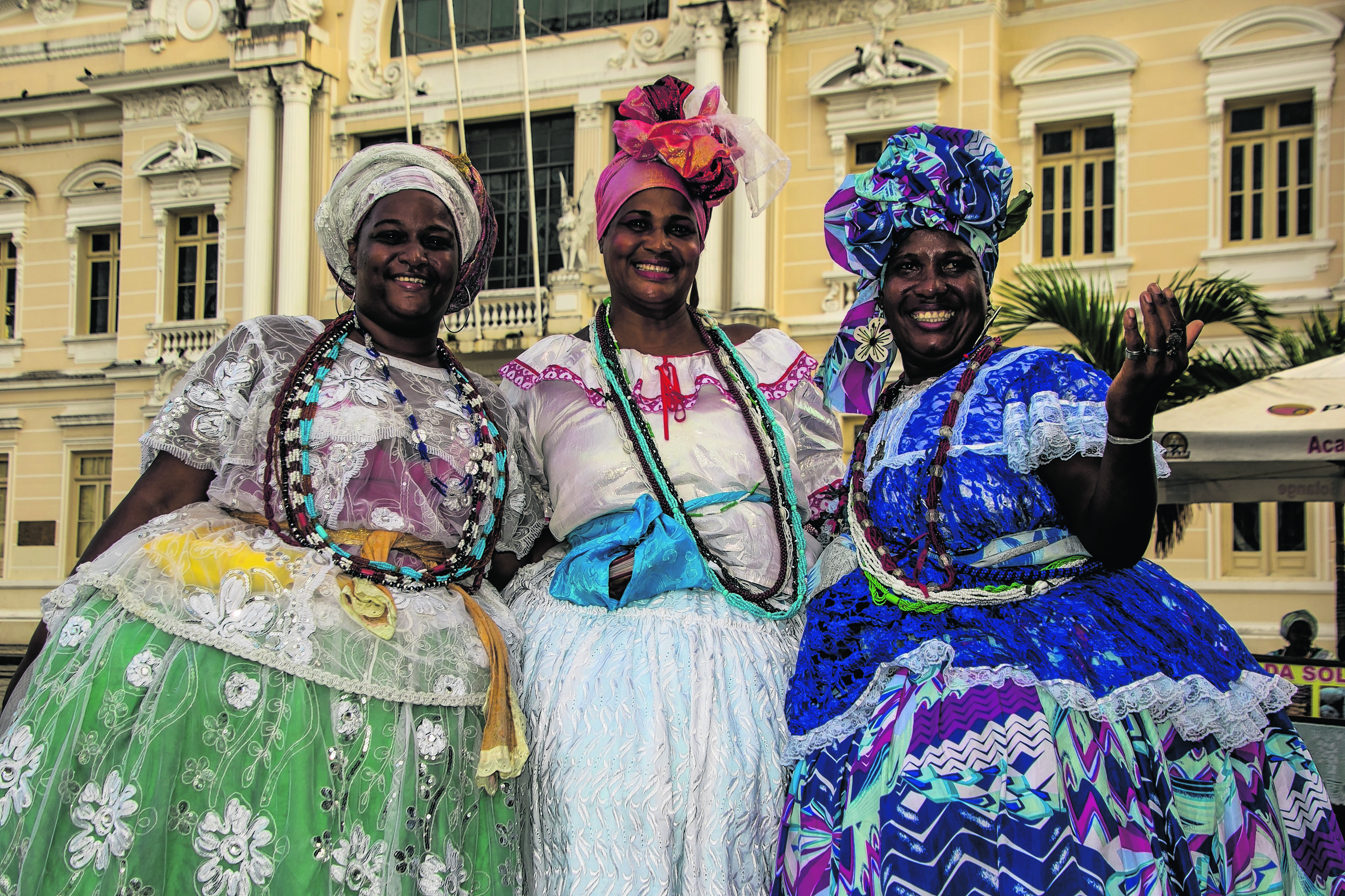 Colourful Salvador ladies in Brazil