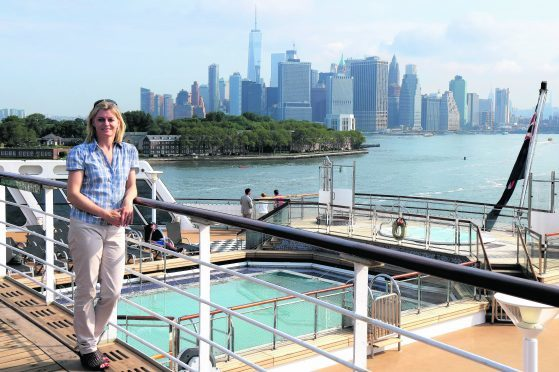 Karen Bowerman on the Queen Mary 2 as she arrives in New York City