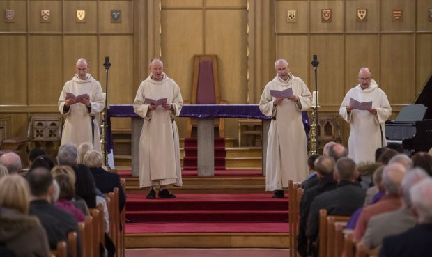 Monks from Pluscarden Abbey performed at the fundraising concert. Picture: Michal Wachucik.