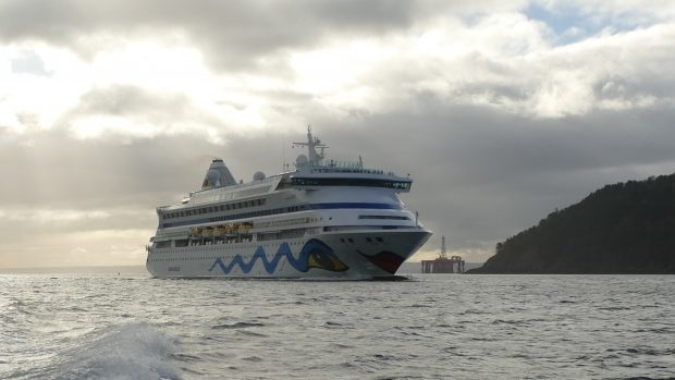 The AIDAVita arriving in the Cromarty Firth yesterday, marking the start of a new cruise liner season at Invergordon.