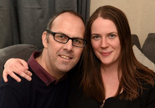 Aaron Wilson, and wife Kelly. Pic by Jim Irvine.