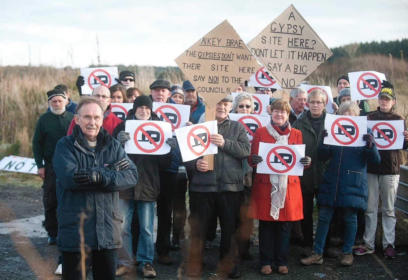 Old Deer residents are protesting the proposed re-opening of Aikey Brea, as a site for travellers.