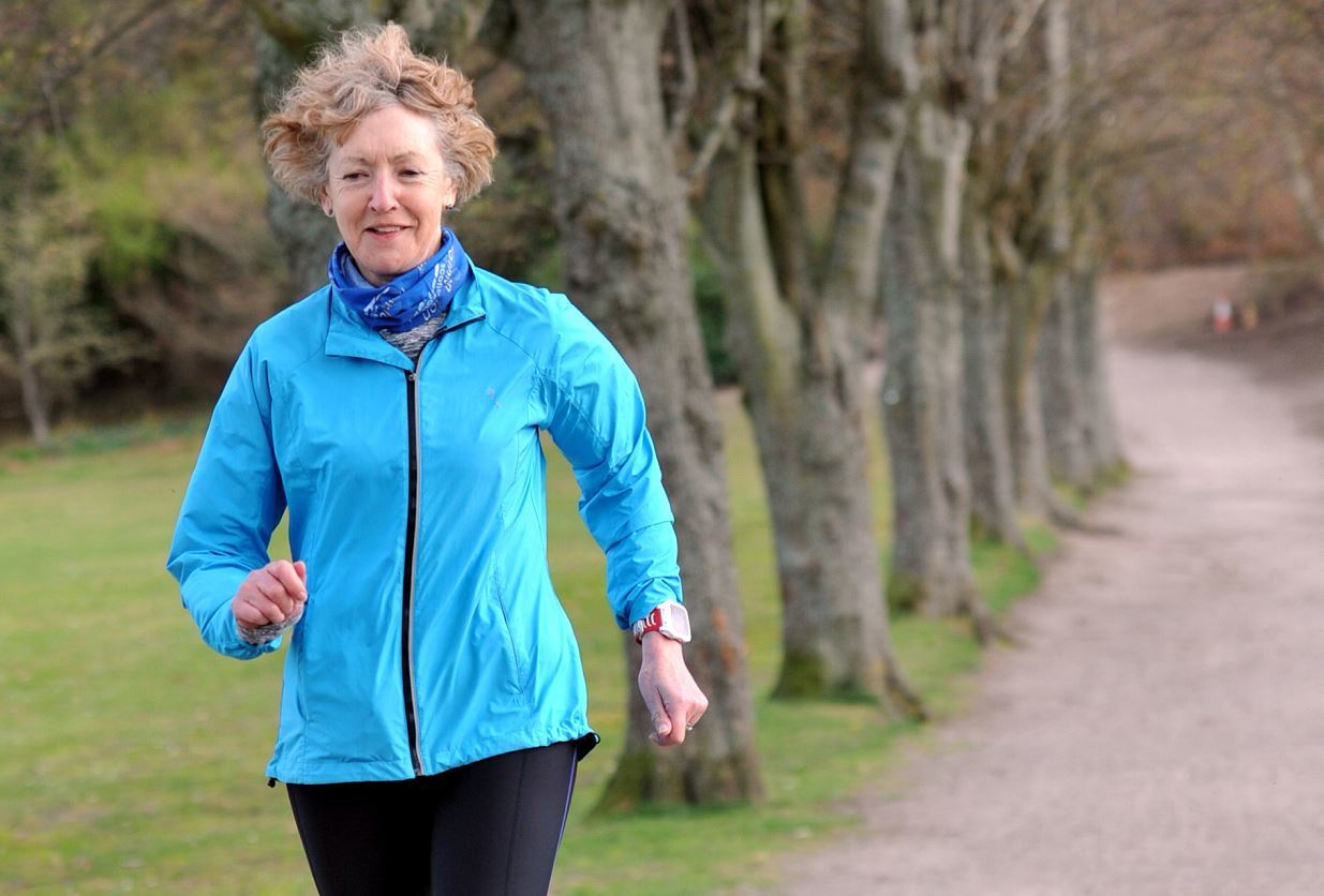 Anne Docherty regularly trains in Grant Park in Forres.
