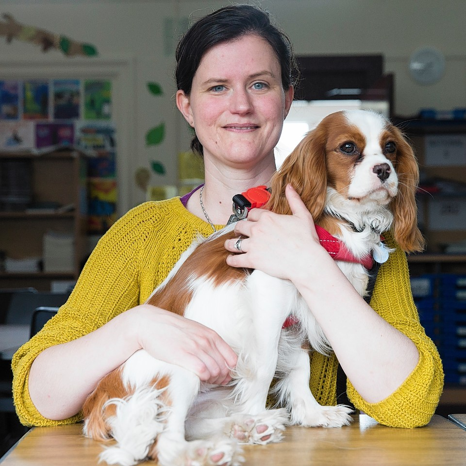 Karen Makepeice with her dog Arnie the King Charles Spaniel