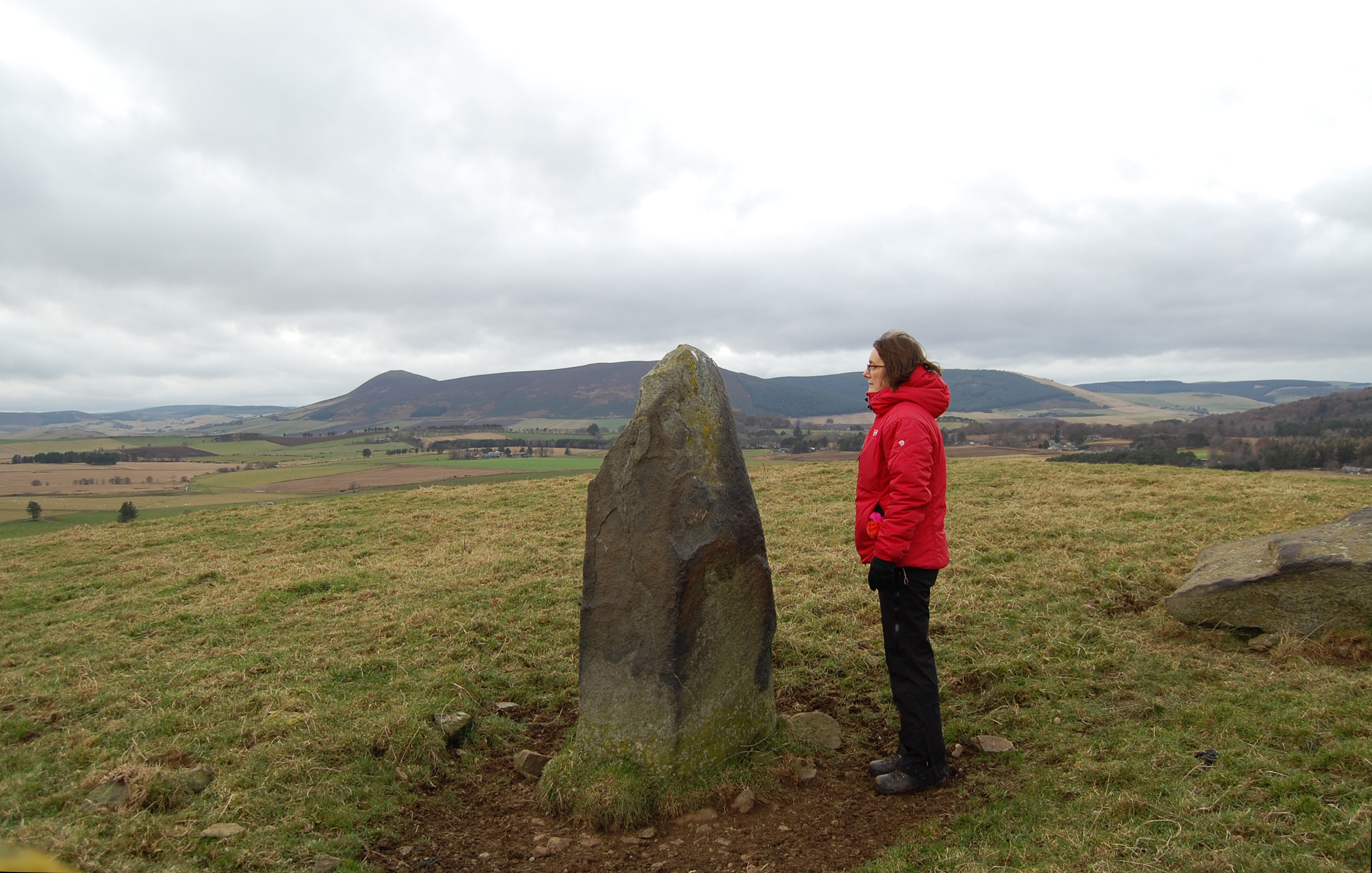 Artist Andrea Geile at Stone Circle on 2017 Slow Marathon route. Credit Andrea Geile