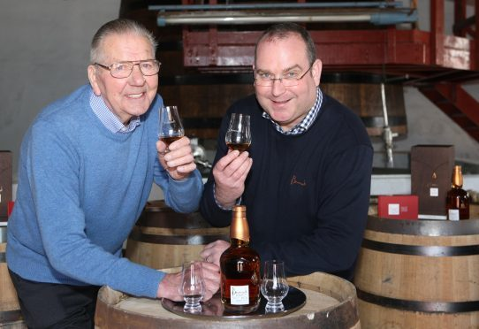 Benromach Distillery manager Keith Cruickshank, right, with retired distiller Tom Anderson.