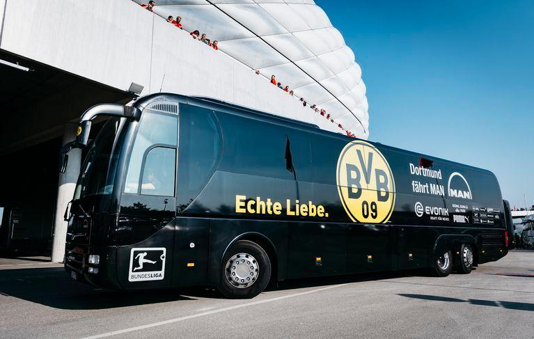 Stock image of the Borussia Dortmund team bus