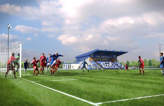 Artists impression of how the proposed Cove Rangers ground at Bobby Calder Park could look
