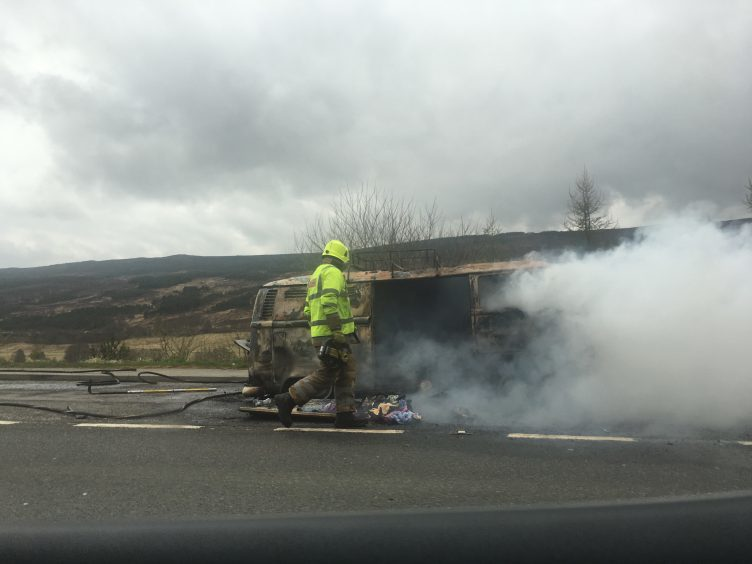 Firefighters attended the camper van fire on the A9 this morning