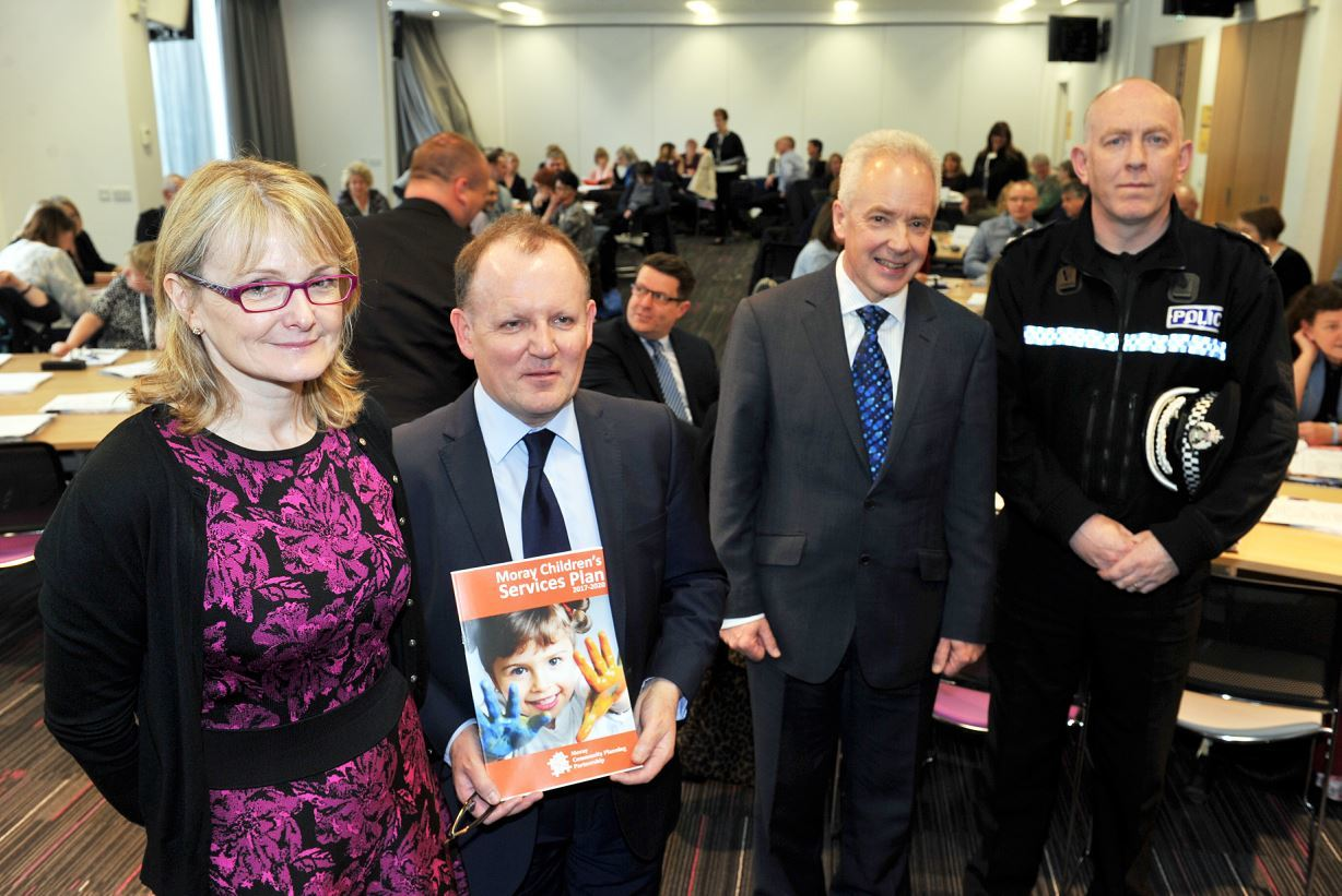 Staff attended a briefing about the new childrens' services plan at Moray College. Pictured: Malcolm Wright, chief executive NHS Grampian, Susan Webb, director of public health, Chief Superintendent Campbell Thomson, Police Scotland and Roddie Burns, chief executive Moray Council.